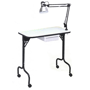 Pibbs manicure table fold legs with lamp 974 for Fold away nail table
