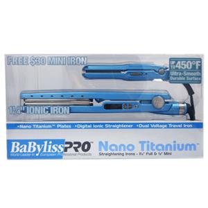 BABYLISS Pro Nano Titanium 1-1/4 Inch Flat Iron w/1/2 Inch Mini Flat Iron Combo Model: BABNTPP16