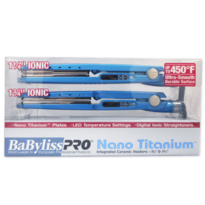 BABYLISS Pro Nano Titanium Flat Irons Combo 1-1/4 Inch and 1-3/4 Inch Model: BABNTPP23