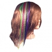 FABULOUS Grizzly Synthetic Feather Hair Extensions Kit in Organza Bag with Tool Kit w / Light Brown Beads