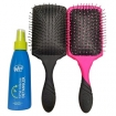 Wet Brush-Pro Paddle Detangler Brush - Black & Pink Duo Set w/Time Release Detangler 4oz