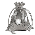 GIFT Rectangular Lame Drawstring Bag Metallic Silver  6� W x 14� H 20