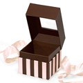 GETI BEAUTY Chocolate & Pink Stripe Square Box w /  Ribbon