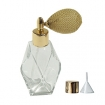 GETI BEAUTY Empty Refillable Perfume Diamond Shaped Glass Bottle with Gold Antique Mesh Sprayer 2oz/60ml