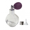 GETI BEAUTY Empty Refillable Perfume Round Glass Bottle with Purple Mesh Style Sprayer Top 2.65oz / 78ml