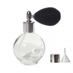 GETI BEAUTY Empty Refillable Perfume Round Glass Bottle with Black Mesh Sprayer Top 4.33oz / 128ml