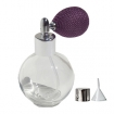 GETI BEAUTY Empty Refillable Perfume Round Glass Bottle with Purple Mesh Sprayer Top 4.33oz/128ml