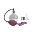 GETI BEAUTY Empty Refillable Perfume Round Glass Bottle with Purple Antique Style Sprayer Top & Tassel 2.65oz/78ml