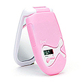 ZADRO LED Lighted Compact Mirror w /  LCD Clock & Flashlight  ISEE01P1 Pink DISC