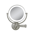 ZADRO LED Lighted 10X / 1X Round Satin Nickel Wall Mirror LEDW410