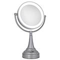 ZADRO LED Lighted 10X / 1X Round Satin Nickel Vanity Mirror LEDV410