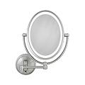LED Lighted 10X / 1X Oval Satin Nickel Wall Mirror LEDOVLW410