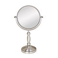 ZADRO 10X / 1X Swivel Satin Nickel Vanity Mirror VAN410