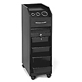 PIBBS Lockable Portable Styling Station with 4 Trays and Built-In Appliance Holder Black Laminate  D38BL