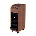 PIBBS Lockable Portable Styling Station with 4 Trays and Built-In Appliance Holder Wood Laminate  D38WD