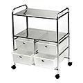 PIBBS Work Cart with 4 White Storage Drawers  D4W