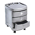 PIBBS Three Shelf Cart Grey Metallic Base  2042