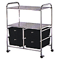 PIBBS 4 White Drawer and 2 Shelves Work Cart  D4W