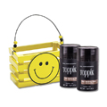 TOPPIK Hair Fiber MEDIUM BROWN with Wooden Smile Face Crate Gift Set
