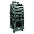 KAYLINE  Lockable Rollabout  With Appliance Holders  and Compartmented Top Organizer  in  Black G1-HP